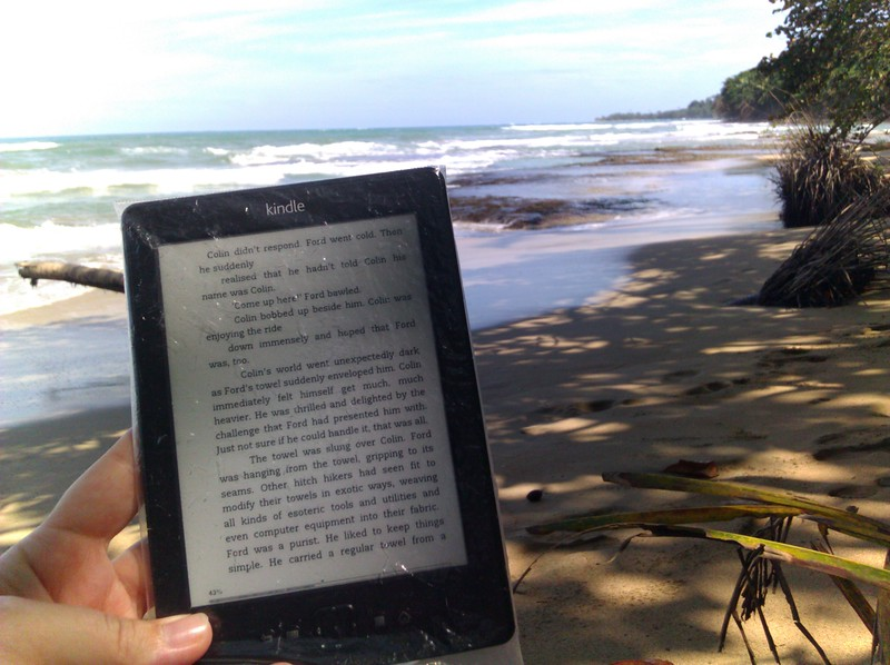 reading hitchhiker's guide to the galaxy on remote playa chiquita in costa rica