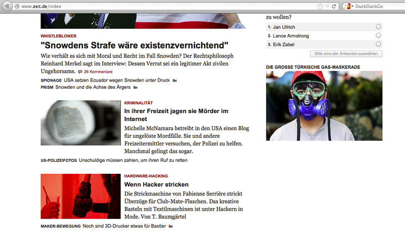 on the front page of zeit.de near a snowden headline